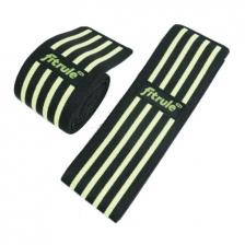 Бинты коленные FitRule черно-зеленый MEDIUM (пара), 2 метра