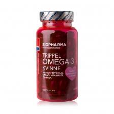 Biopharma Trippel Omega-3  Kvinne 120 caps
