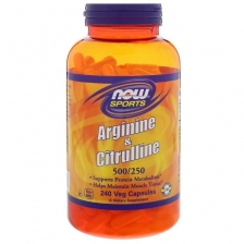 NOW Arginine 500 mg Citruline 250 mg 240caps